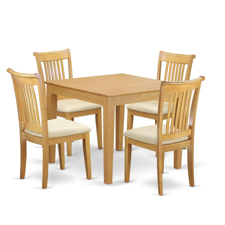 East West Furniture OXPO5-OAK-C 5-Piece Dinette table set - Table and 4 cushion seat dining chairs in Oak finish [Item # OXPO5-OAK-C]