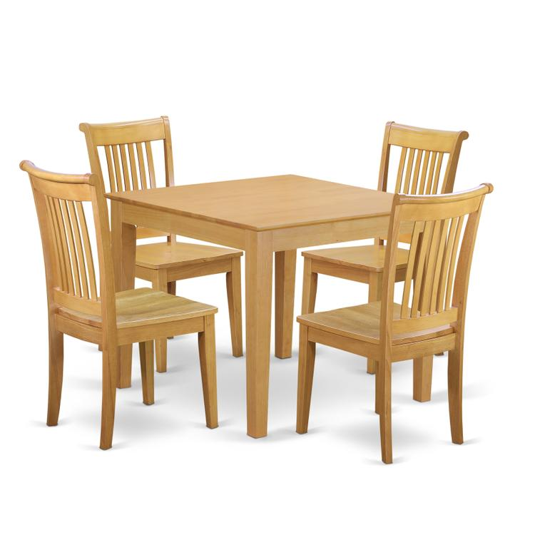 East West Furniture OXPO5-OAK-W 5-Piece Dinette table set - Table and 4 wood seat dining chairs in Oak finish