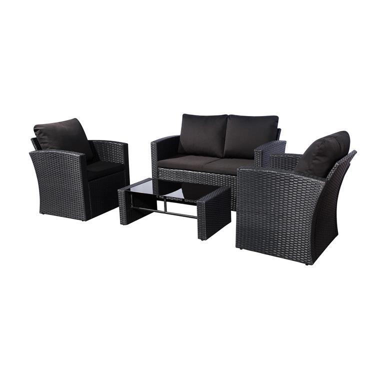 Westin Furniture 4-Piece Conversation Sofa Set with Plush Cushions, Black
