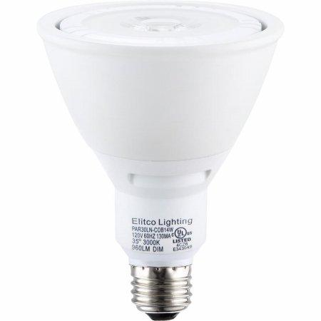 LED COB PAR30 long neck 120V 14W 3000K 35°DIM WHITE