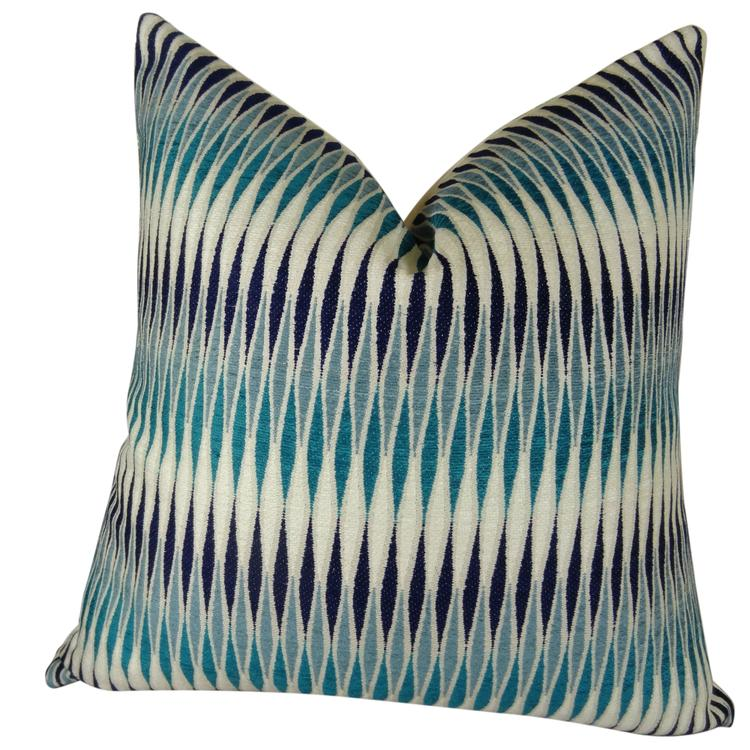 Plutus Thames River Cobalt HandmadeThrow Pillow