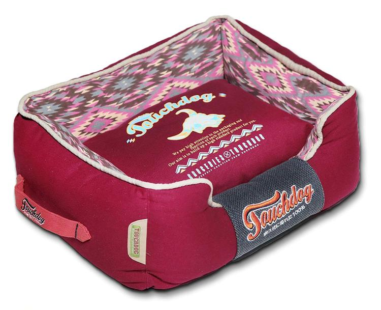 Touchdog 70's Vintage-Tribal Throwback Convertible and Reversible Squared 2-in-1 Collapsible Dog House Bed [Item # PB53BLLG]
