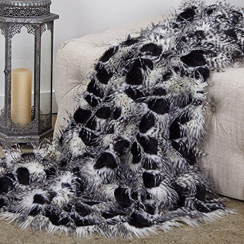 Plutus Brands  Porcupine Black and White Faux Fur Luxury Throw
