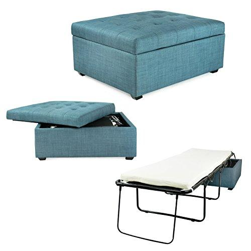 iBED Convertible Ottoman Guest Bed in Blue Fabric