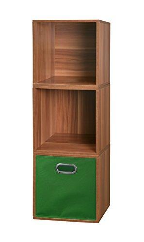 Niche Cubo Storage Set - 3 Cubes and 1 Canvas Bin- Warm Cherry/Green