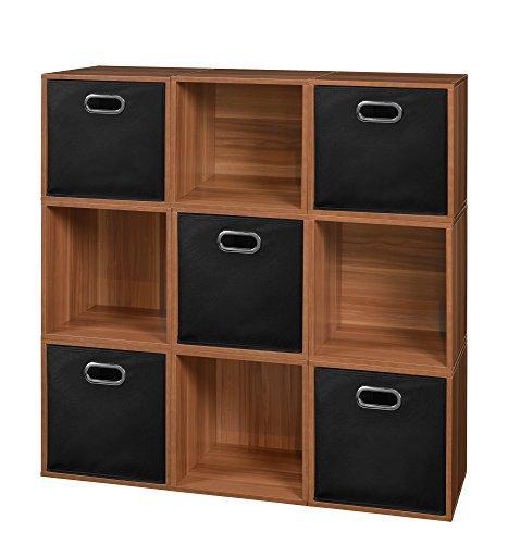 Niche Cubo Storage Set - 9 Cubes and 5 Canvas Bins- Warm Cherry/Black