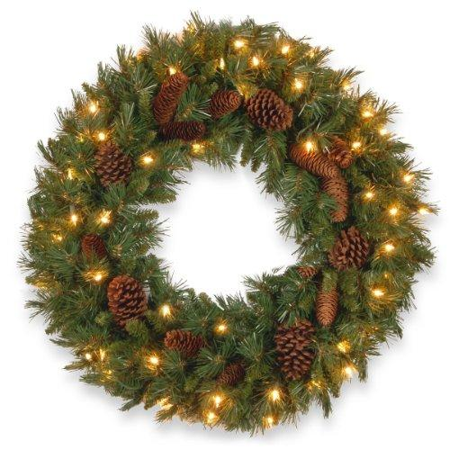 National Tree Pine Cone Wreath with Clear Lights