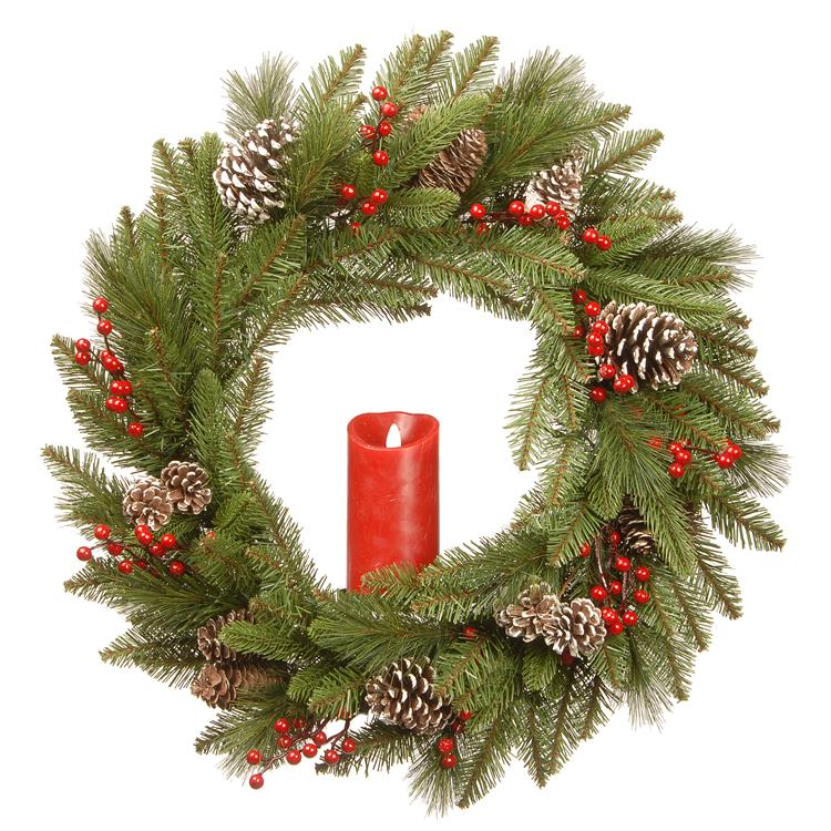 National Tree 24 inch Bristle Berry Wreath with Single Candle