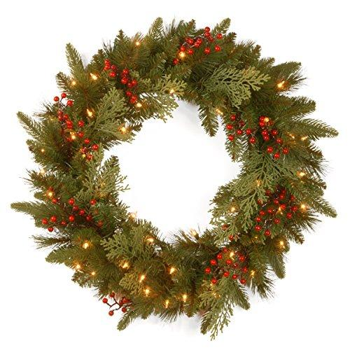 National Tree Classical Collection Wreath with Battery Operated Warm White LED Lights