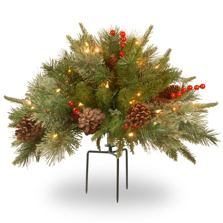 National Tree 18 inch Colonial Urn Filler with Battery Operated Warm White LED Lights