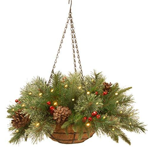 National Tree Colonial Hanging Basket with Battery Operated Warm White LED Lights