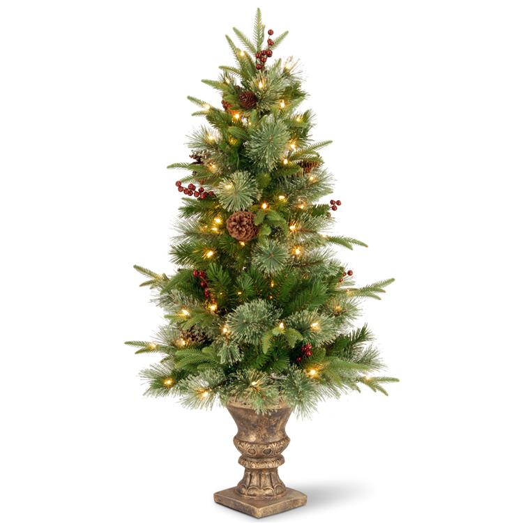 National Tree 4 ft Colonial Entrance Tree with Clear Lights