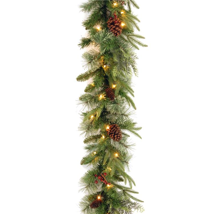 National Tree 9 ft Colonial Garland with Clear Lights