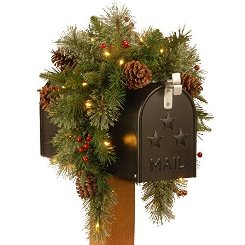 National Tree Colonial Mailbox Swag with Battery Operated Warm White LED Lights