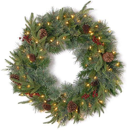 National Tree Colonial Wreath with Battery Operated Dual Color LED Lights