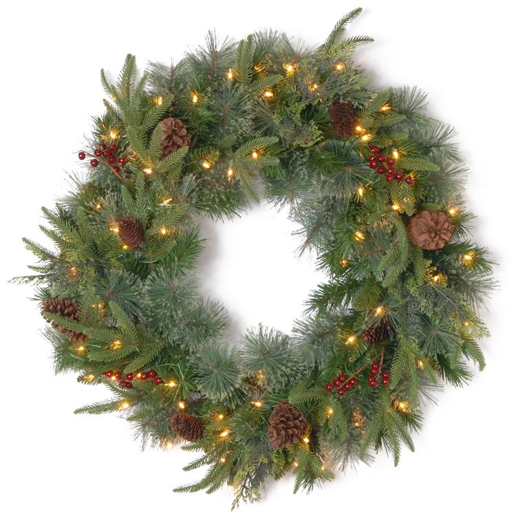 National Tree 24 inch Colonial Wreath with Battery Operated Dual Color LED Lights [Item # PECO7-395D24WBC]