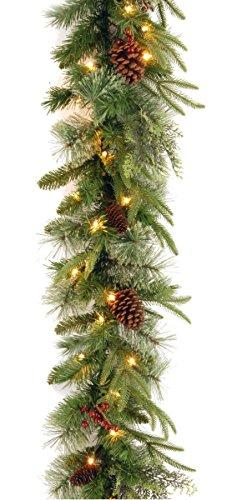 National Tree Colonial Garland with Battery Operated Dual Color LED Lights