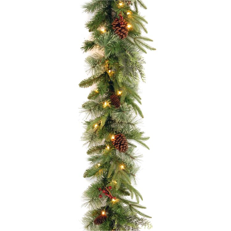 National Tree 9 ft Colonial Garland with Battery Operated Dual Color LED Lights