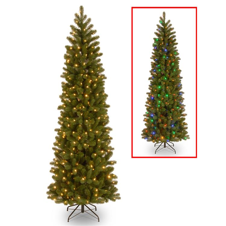National Tree Downswept Douglas(R) Pencil Slim Fir Tree with Dual Color LED Lights