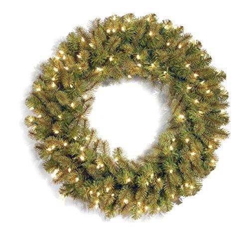 National Tree Downswept Douglas Wreath with Warm White LED Lights