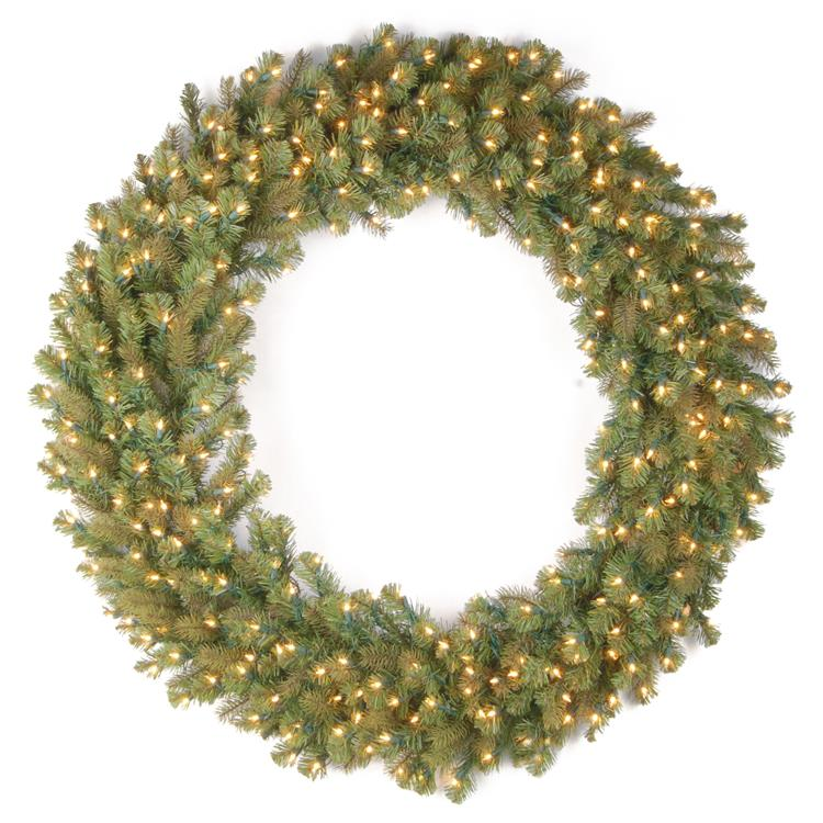 National Tree Downswept Douglas(R) Wreath with Warm White LED Lights