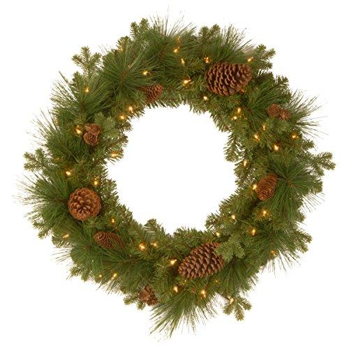 National Tree Eastwood Spruce Wreath with Battery Operated Warm White LED Lights