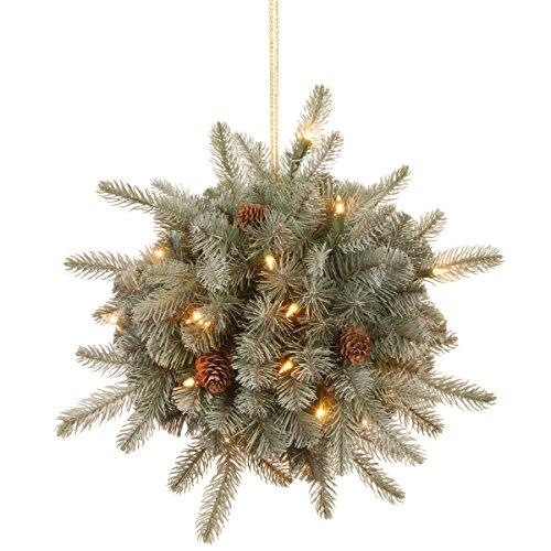 National Tree Frosted Arctic Spruce Kissing Ball with Battery Operated Warm White LED Lights