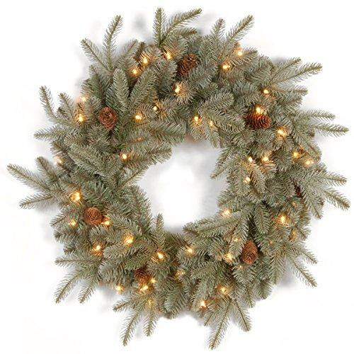 Frosted Arctic Spruce Wreath with Clear Lights