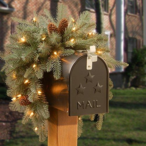 Frosted Arctic Spruce Mailbox Swag with Battery Operated Warm White LED Lights