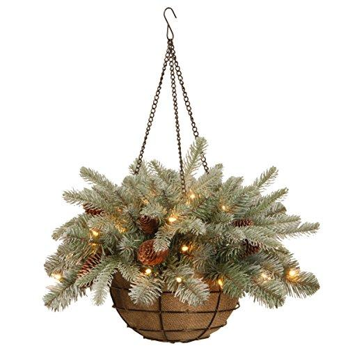 Frosted Arctic Spruce Hanging Basket with Battery Operated Warm White LED Lights