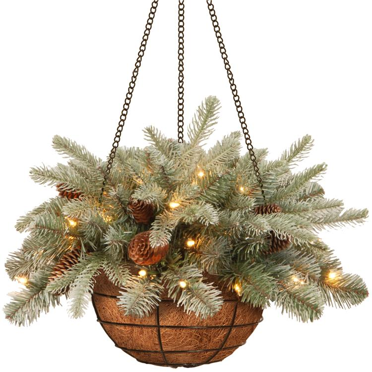 National Tree 20 inch Frosted Arctic Spruce Hanging Basket with Battery Operated Warm White LED Lights