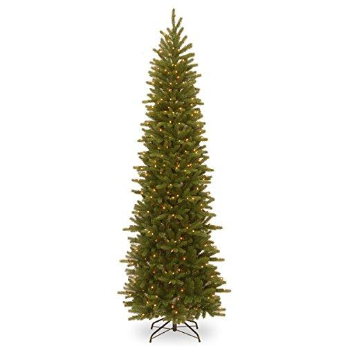 National Tree Grand Fir Pencil Slim Tree with Clear Lights