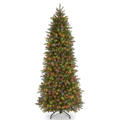 Jersey Fraser Fir Pencil Slim Tree with Multicolor Lights