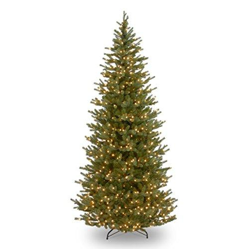 National Tree Noble Fir Slim Tree with Clear Lights