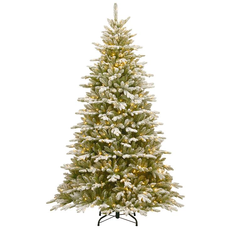 National Tree 7.5 ft Snowy Sierra Spruce Tree with Clear Lights [Item # PESIF-300-75]