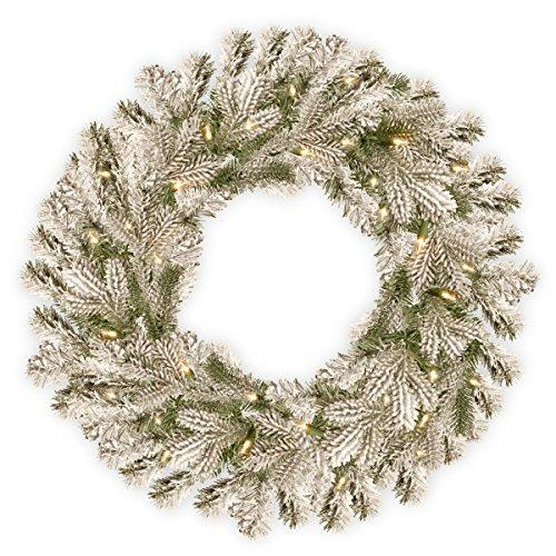 National Tree Snowy Sheffield Spruce Wreath with Battery Operated Warm White LED Lights