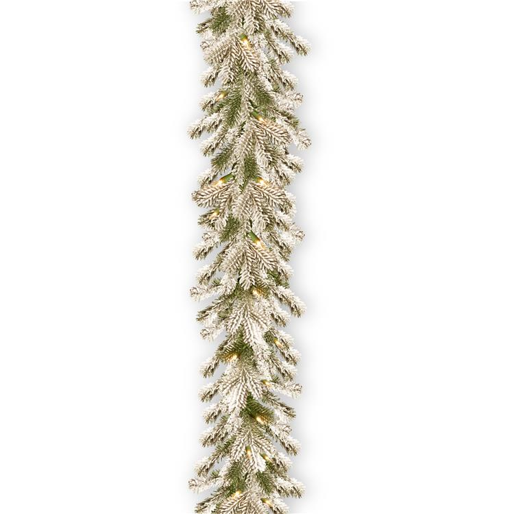 National Tree 9 ft Snowy Sheffield Spruce Garland with Clear Lights