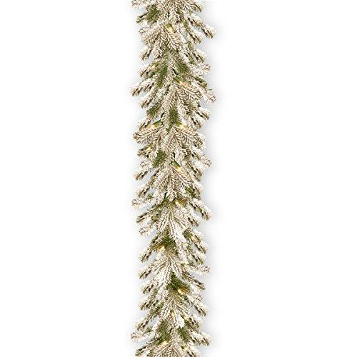 National Tree Snowy Sheffield Spruce Garland with Clear Lights