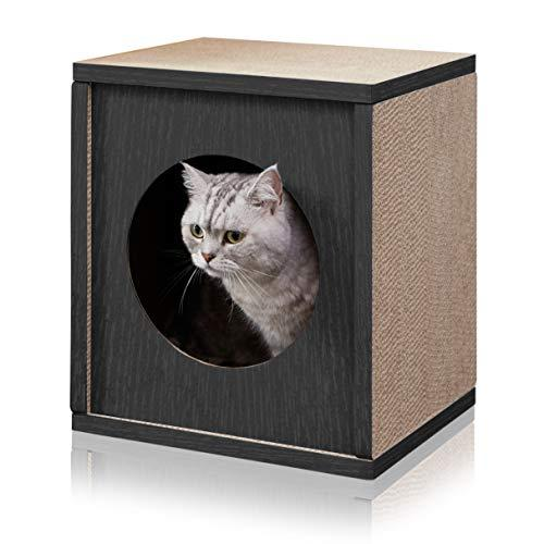 Way Basics Eco Friendly Cat Scratcher Cube House, Black