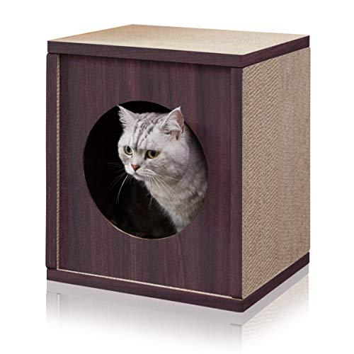 Way Basics Eco Friendly Cat Scratcher Cube House, Espresso [Item # PET-SCUBE-EO]