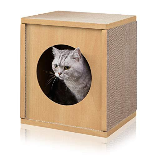 Way Basics Eco Friendly Cat Scratcher Cube House, Natural