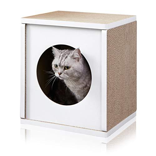 Way Basics Eco Friendly Cat Scratcher Cube House, White