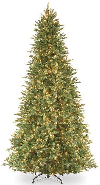 National Tree 12' Tiffany Fir Slim Tree with 1200 Clear Lights - Hinged [Item # PETF3-304-120]