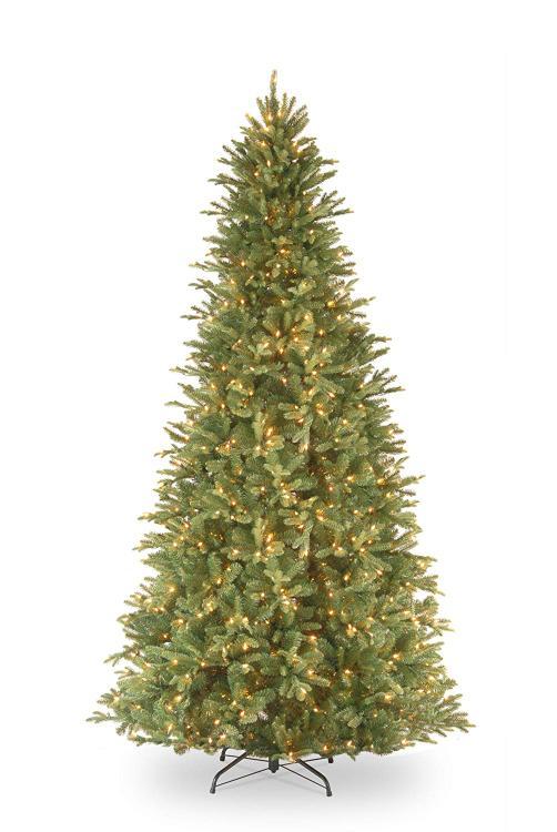 National Tree 12' Tiffany Fir Slim Tree with 1200 Clear Lights - Hinged