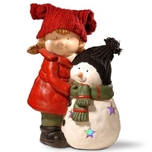 Lighted Girl & Snowman Décor