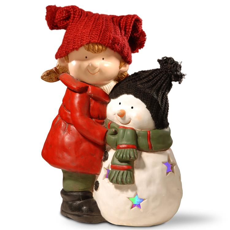 National Tree 15 inch Lighted Girl & Snowman Décor [Item # PG11-16530A]