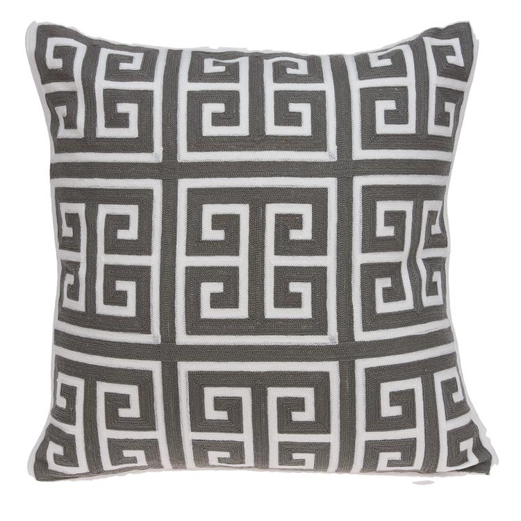 Parkland Collection Adora Grey and White Down Filled Throw Pillow