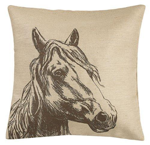 Burlap Horse Head Burlap Pillow, 22x22