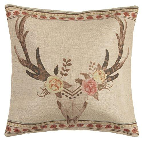 Burlap Skull with Flowers Pillow, 22X22
