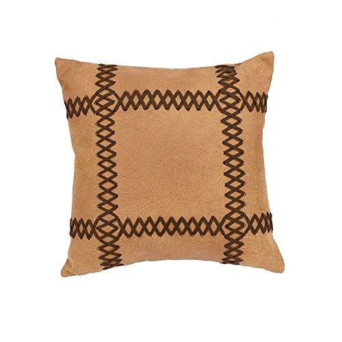 Faux leather pillow with lacing, 18x18